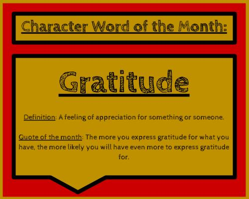 Character Word of the Month: Gratitude