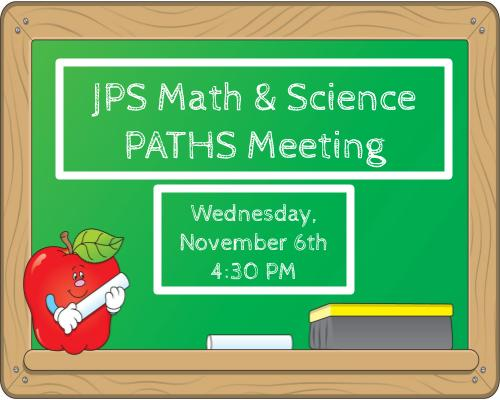 PATHS Meeting October 9th @ 5:30 PM