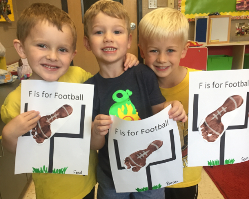 students with the letter f artwork