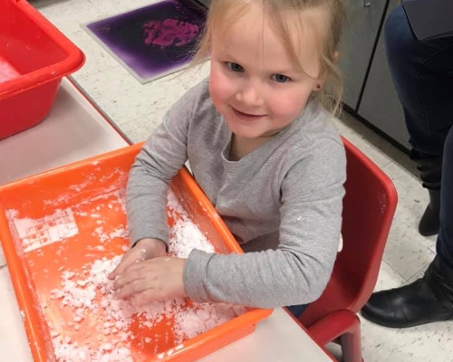 Making Snow in Mrs. Kendra and Mrs. Angela's Classroom