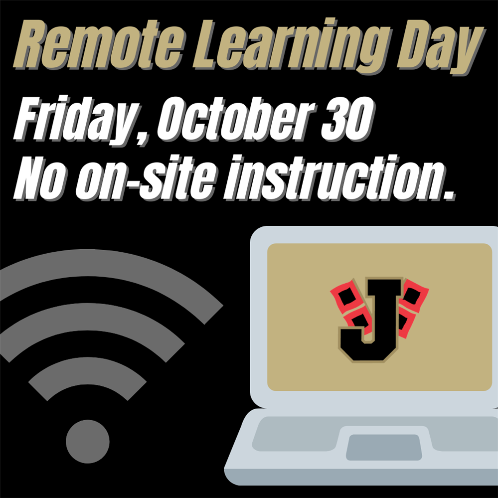Remote learning graphic, computer with J logo